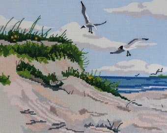REDUCED - Completed Cross Stitched Beach Scene