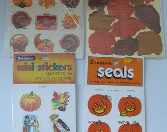 REDUCED - A Collection of Vintage Dennison and Hallmark Halloween, Fall and Thanksgiving stickers