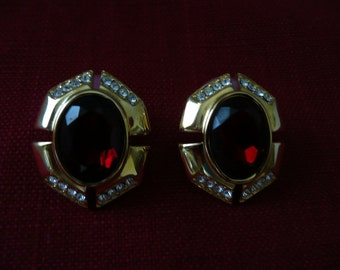 REDUCED - Ruby Colored and Rhinestone Pierced Earrings