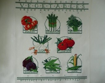 REDUCED - Unframed Counted Cross Stitch Vegetable Picture