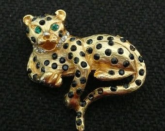 REDUCED - Gold and Black Rhinestone Spotted Leopard Pin