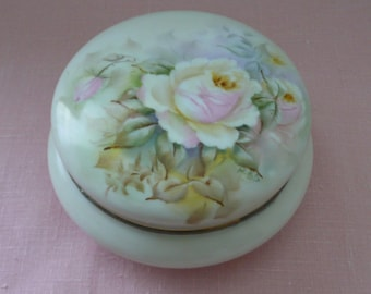 REDUCED - LARGE Initialed Limoges Porcelain Vanity Trinket Box with Roses