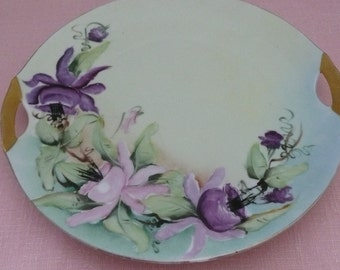 Handpainted Floral Bavarian Porcelain Plate with Gilt Edge and Handles