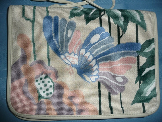 RESERVED for Liz in Canada - NEW VINTAGE Patricia Smith Retro Moon Bag Needlepoint and Leather Shoulder Bag