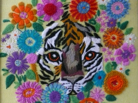 Framed  Crewel Retro Tiger and Garden Needlework