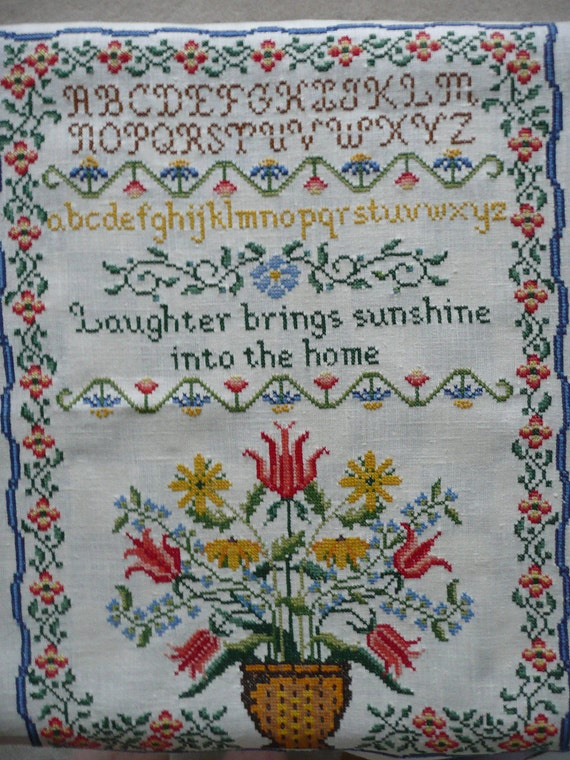 RESERVED FOR MIKE C.  - Unframed Counted Cross Stitch Alphabet and Floral Sampler Needlework