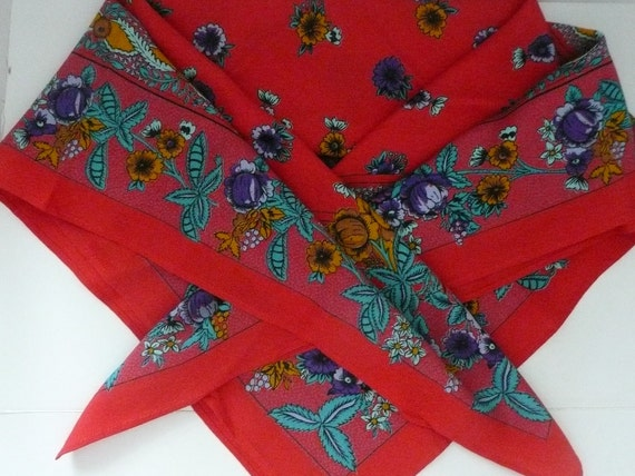 Large Square Red Floral Rayon Challis Bohemian Style Scarf with Paisley Border