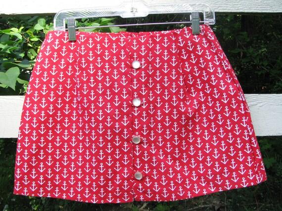 Vintage Skirt Shorts Skort Red White Anchors Nautical Summer Fashion