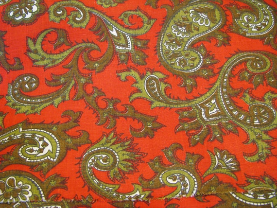 Vintage Paisley Fabric Yardage Red Green
