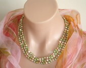 "BLACK FRIDAY SALE:  Ashira Pearls - 56"" - 5-6mm Freshwater Baroque Pearl Necklace, Lime Green, Pink / Beige"
