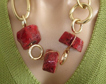 BLACK FRIDAY SALE: Statement Necklace Ashira Red Natural Coral with Gold & Ribbon