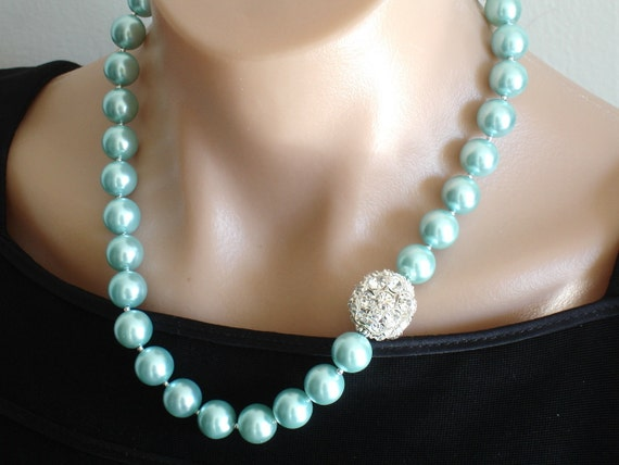 Ashira Brilliant  Turquoise SWAROVSKI Glass Pearls and Focal Rhinestones