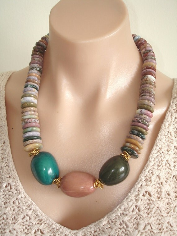 RESERVED: ASHIRA Natural Sea Agate Tones of Mauve, Khaki, Brown, Rust, White, Red, Pink, Grey & 3 Pendant Tagua Nuts