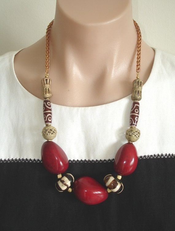 Ashira Organic Red Tagua from Peru and African Brass with Brown & White Cream African Batik Bone Beads- Statement Necklace