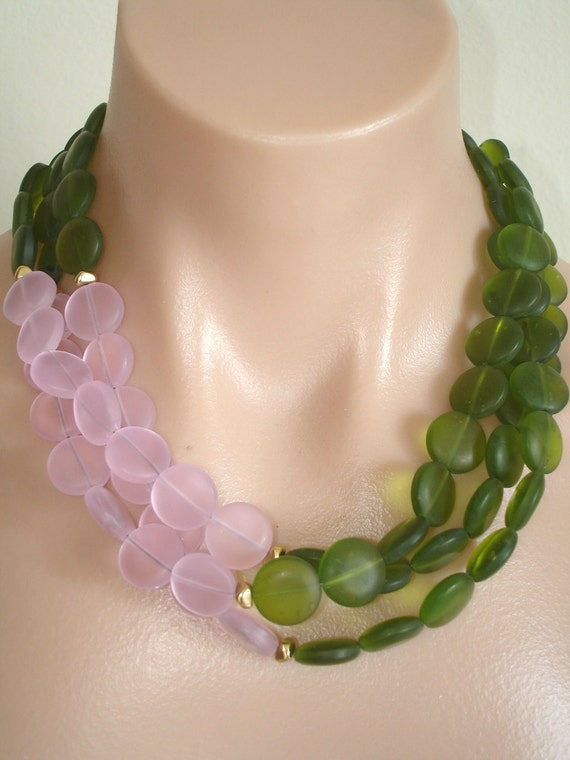 ASHIRA 3 Strand Necklace with Pink and Olivine Beach Sea Glass - Soft, Delicate and Fresh for Summer