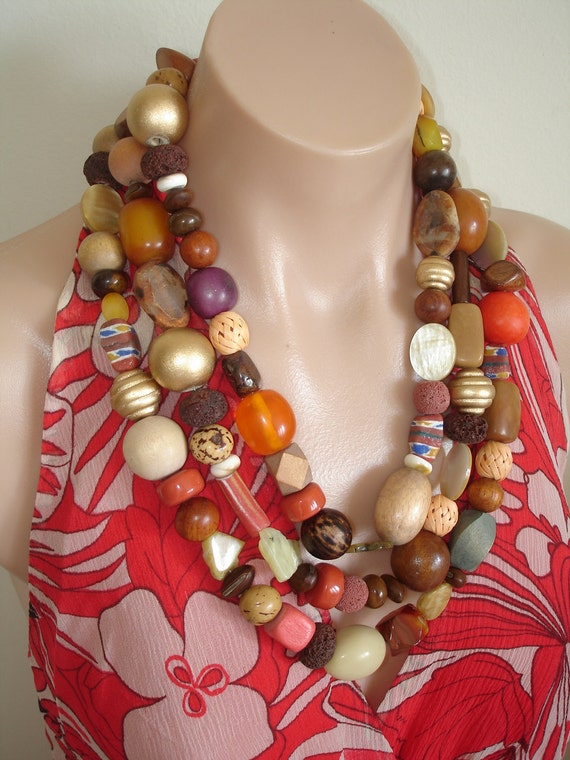 """Ashira Awesome Magazine Cover Runway 73"""" Mixed Bead Necklace"""