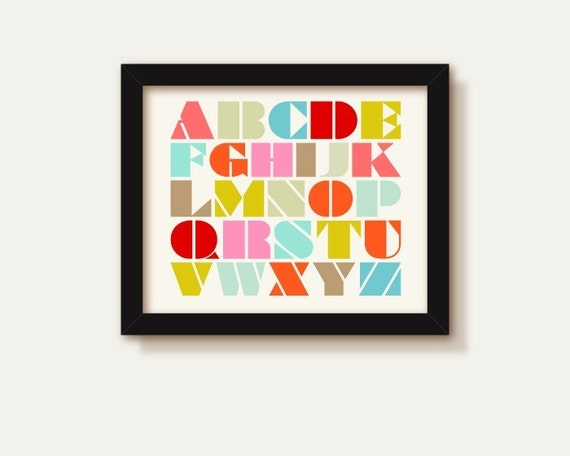 ALPHABET in stencil font (8x10) Nursery, Childs bedroom, Baby shower gift, New arrival