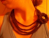 Crochet necklace-brown,with flower