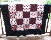 Lap Size Rag Quilt, Crib Size,  Ladybugs in Black, White, and Red with Minky, Handmade in NJ