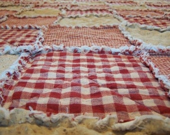 King Size Quilt, Red Homespun, Rag Style, Country Primitive Bedding, Farmhouse Quilt, Handmade in NJ