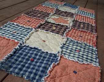 Frontier Primitive Homespun Rag Quilt Table Runner Buttons and Stars, Primitive Country, Handmade in NJ