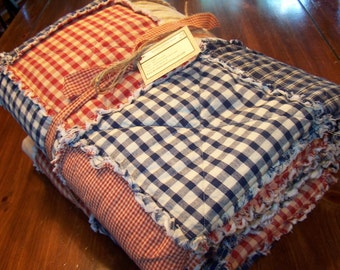 Full Size Rag Quilt, Frontier Primitive Quilt, Homespun Quilt, Farmhouse Quilt, Stars and Buttons, Handmade in NJ