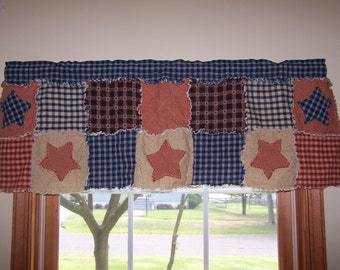 Country Curtain Valance, Frontier Primitive Valance, Rag Quilt Style, Homespun Valance, Star Appliques, Farmhouse Curtains, Handmade in NJ