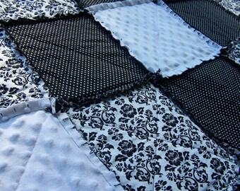 Twin Size Rag Quilt, Black White Blanket, Damask Minky, Modern Bedding, Handmade in NJ