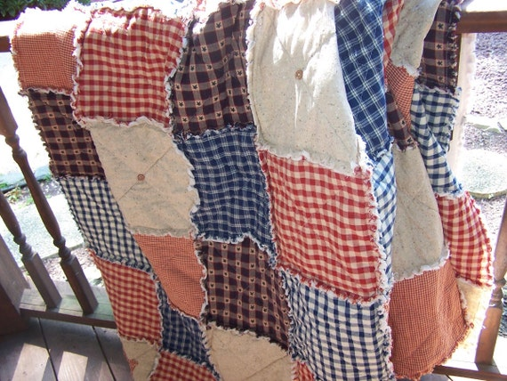 Twin Size Rag Quilt, Frontier Primitive Quilt, Homespun Buttons, Handmade in NJ