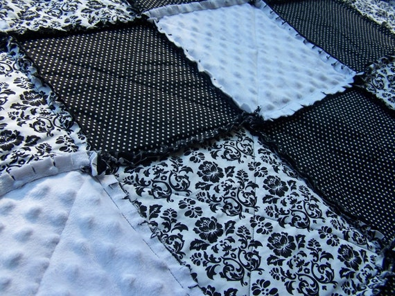 Queen Size Rag Quilt in Damask, Black and White Blanket with Minky, Modern Bedding, Handmade in NJ
