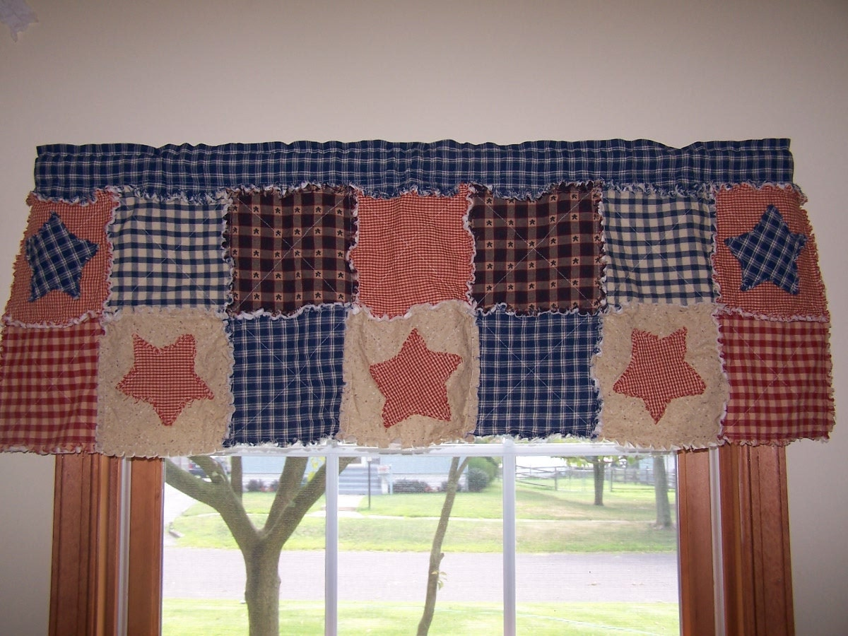 Country Curtain Valance Frontier Primitive Valance Rag Quilt