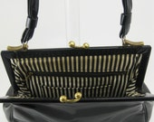 Holly Golightly's Black Patent Leather Purse - French Stripe Lining - Brass Art Clasp - 1960s Vintage
