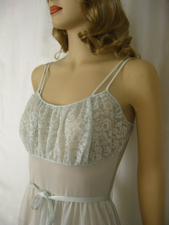 Palest Seafoam Semi-Sheer Van Raalte Myth Slip Nightgown - Chantilly Lace Bodice - 1950s Vintage - 34 Bust