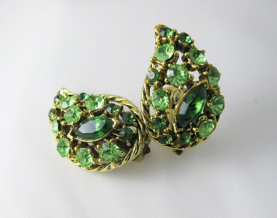 Tinkerbell's Emerald and Chartreuse Leaf Earrings - Marquise Cut Rhinestones - Clip On - 1960s Vintage