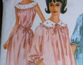 60s Nightgown & Sheer Duster Pattern McCalls 6242  Size 16 Bust 36