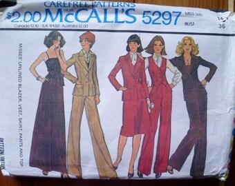 70s Maxi Skirt Camisole High Waist Pants Pattern McCalls 5297 Bust 36 UNCUT