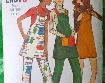 70s Bib Front Jumper Pattern Butterick 6415 Bust 33.5 A Line Dress Jumper Flared Pants