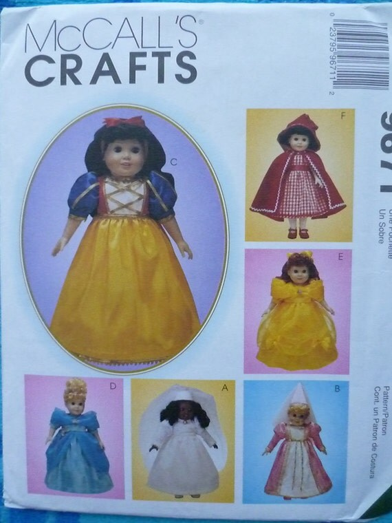 18 inch Doll Clothes Pattern McCalls 9671 Storybook Fairytale Theme UNCUT