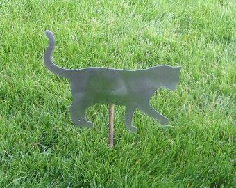 Cat kitty playing yard garden stake metal art feline 1