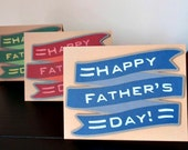 happy father's day banner card - choice of blue, red, or green