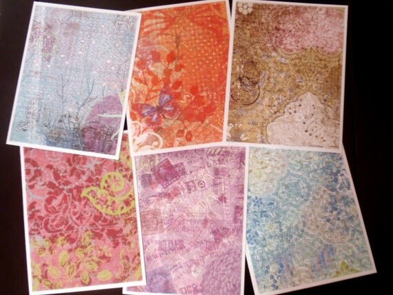 RESERVED for CYN - mixed jewel print notecards - set of six