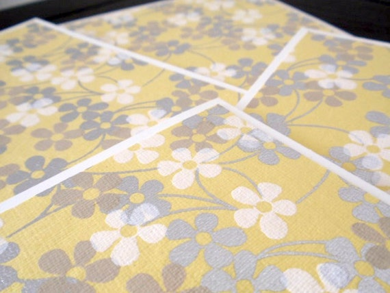 silver, grey and yellow blossom notecards - set of four
