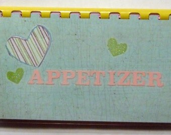 "SALE ITEM Price is marked/Handmade ""Appetizer"" Blank Recipe Book"