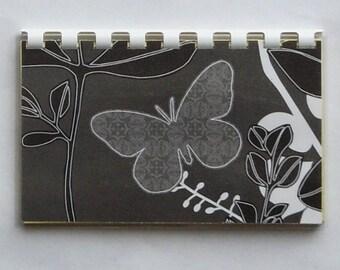 "Handmade ""Gray Butterfly"" Blank Recipe Book"