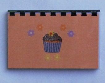 "SALE ITEM Price is marked Handmade ""Peach Cupcake"" Blank Recipe Book"
