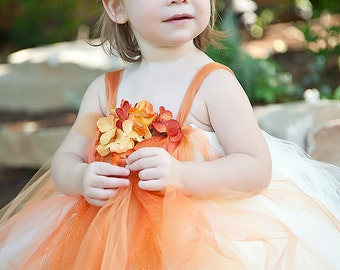 Orange Flower Girl Tutu Dress----Flower Girls, Pageants, Portraits----Many Colors