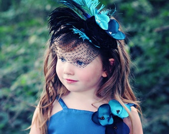 Peacock Feather Fascinator Headband or Clip---Perfect for Flower Girls-Portraits-Pageants---Available in Many Colors
