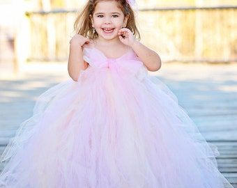 Blush Flower Girl Tutu Dress--Organza Bow--Available in Many Color Combinations----Perfect for WEDDINGS