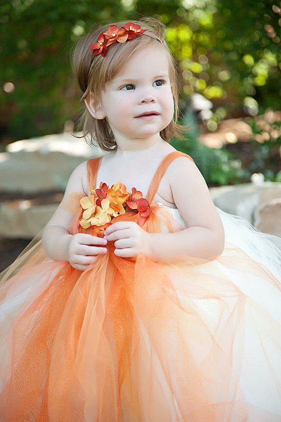 Orange Flower Girl Tutu Dress Flower Girls Pageants Portraits