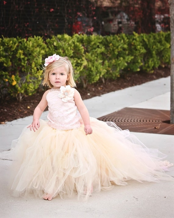 Lace and Tulle Flower Girl Dress Formal Wear Tutu and